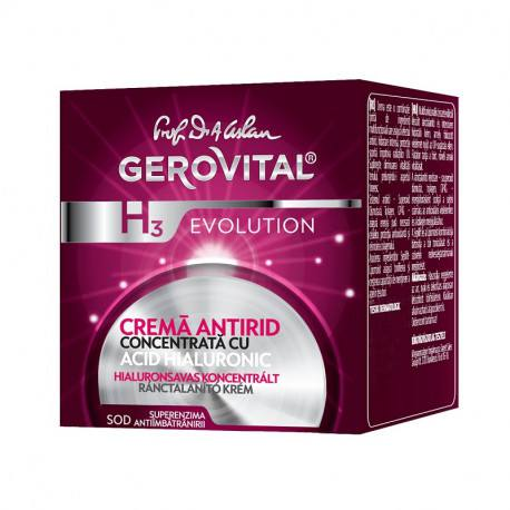 Gerovital H3 Evolution crema antirid concentrata cu Acid Hialuronic, 50ml