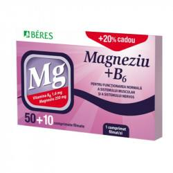 Beres Magnesium + B6, 50 tablete + 10 tablete Cadou