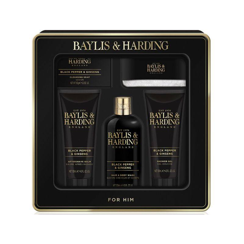 Baylis & Harding Set cadou Quintet Signature Men's Black Pepper & Ginseng- Luxury gift tin