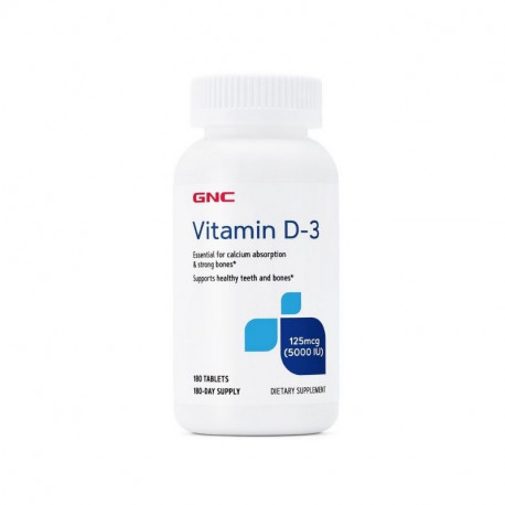 GNC Vitamin D3 5000 UI, 180 tablete