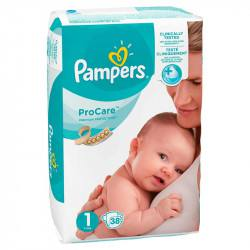 Pampers nr 1, ProCare, 2-5 kg, 38 bucati