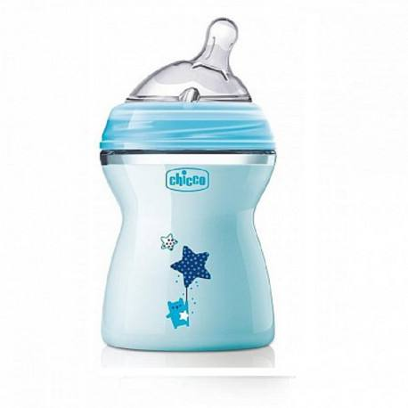 CHICCO Biberon Natural Feeling plastic BLEU, 2 luni +, 250 ml, tetină silicon , flux mediu