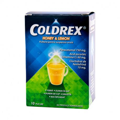 Coldrex Honey & Lemon x 10 plicuri x 5 g pulb. pt. susp. orala