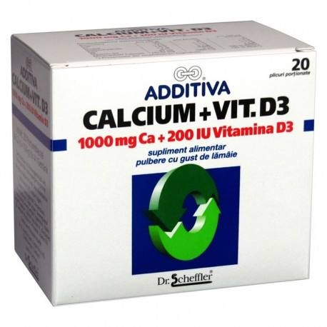 Additiva Calciu 1000 mg + Vitamina D3 x 20 plicuri