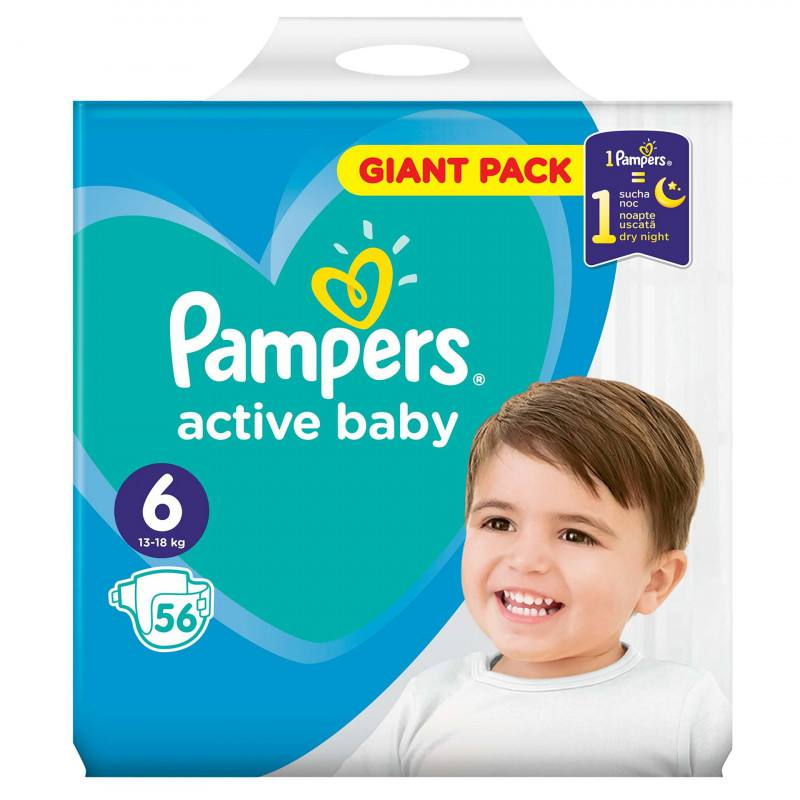 Pampers nr. 6 Active Baby 13-18 kg, 56 buc