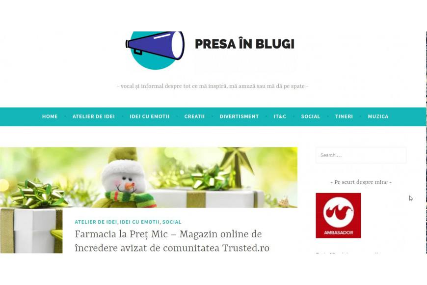 Farmacia la Pret Mic, magazin online de incredere avizat de Trusted.ro