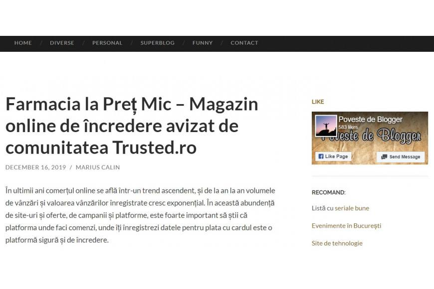 Trusted acrediteaza farmacialapretmic ca platforma de e-commerce de incredere